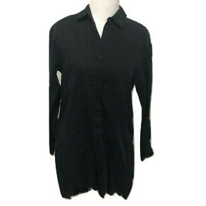 TIBI Size XS Navy Blue Tunic Top Solid Frayed Edge